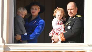 Prince Jacques, Princess Charlène, Princess Gabriella and Prince Albert II.