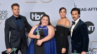 Justin Hartley, Chrissy Metz, Mandy Moore, and Milo Ventimiglia