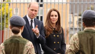 Prince William and Duchess Kate during their visit from Royal Air Force cadets to London on April 21, 2021
