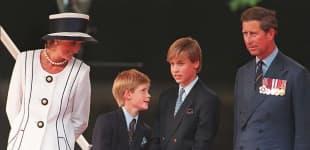 La Princesa Diana con el Príncipe Carlos y sus hijos William y Harry en 1995