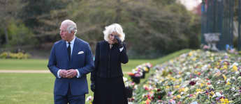 Prince Charles tears up visiting public tributes after Prince Philip's death buckingham palace photos pictures Camilla royal family 2021