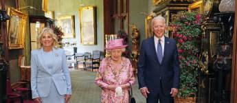 Queen Elizabeth II meets Jill and Joe Biden on June 13, 2021 at Windsor Castle for tea pictures photos royal family news