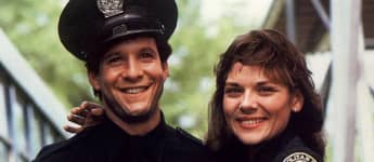 Steve Guttenberg and Kim Cattrall in 'Police Academy'.