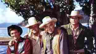 "Bonanza: ""Jamie"" actor Mitch Vogel with Dan Blocker, Lorne Greene, Michael Landon"