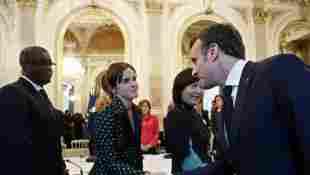 Actress Emma Watson meets French President Emmanuel Macron in Paris, France.