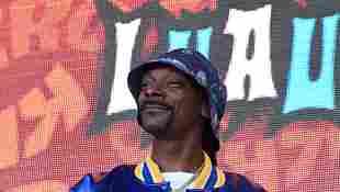 Snoop Dogg performing onstage at the 2019 KROQ Weenie Roast in Dana Point, California.