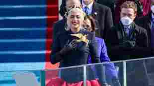 Lady Gaga Sings National Anthem For Presidential Inauguration Wearing Dove Of Peace - Watch Here