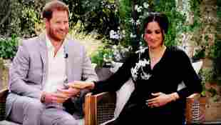 Prince Harry and Meghan, the Duke and Duchess of Sussex, in a scene from their interview with Oprah Winfrey, Oprah with Meghan and Harry: A Primetime Special.