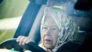 Queen Elizabeth II driving car at 2019 Royal Windsor Horse Show.