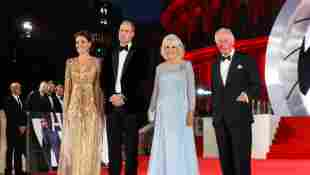 The Royals Hit The Red Carpet At No Time To Die world Premiere event Prince WIlliam and Kate Charles Camilla film movie Daniel Craig pictures photos Royal Family news suit dress tuxedo