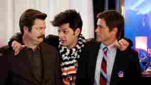 Nick Offerman, Ben Schwartz, and Rob Lowe in 'Parks and Recreation'.