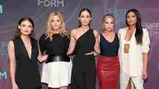 Lucy Hale, Sasha Pieterse, Troian Bellisario, Ashley Benson, and Shay Mitchell 2016 ABC Freeform Upfront in New York City.