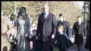 Duchess Catherine, Princess Charlotte, Prince William and Prince George on Christmas Day.