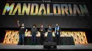 The cast of The Mandalorian at the 2019 'Star Wars' Celebration in Chicago, Illinois.