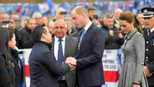 The Duke and Duchess of Cambridge and Leicester City Vice chairman Apichat Srivaddhanaprabha