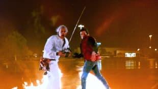 Michael J. Fox y Christopher Lloyd fuego