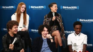 The Cast of 'Stranger Things' during an interview with SiriusXM's radio show.