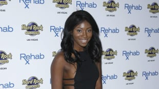 Faith Stowers walks the red carpet at Rehab Beach Club at The Hard Rock Hotel and Casino in Las Vegas, Nevada.