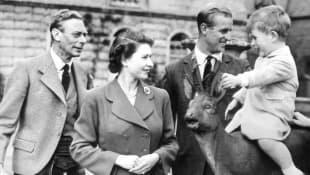 King George VI, Queen Elizabeth II, Prince Philip and Prince Charles