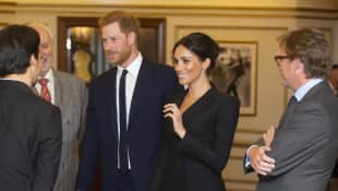 Prince Harry and Duchess Meghan at Victoria Palace Theatre