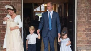 The British royal family at the christening of Prince Louis