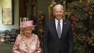 Queen Elizabeth II and Joe Biden