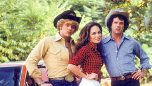John Schneider, Catherine Bach and Tom Wopat on The Dukes of Hazzard.
