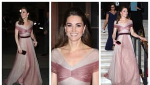 Kate attends a Gala Dinner in aid of 'Mentally Healthy Schools' at the Victoria and Albert Museum looking gorgeous in pink Gucci gown