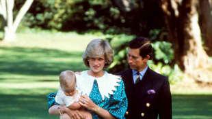 Princess Diana with Prince William, Prince Charles