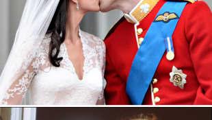 Kate Middleton y el príncipe William; Lady Diana y el príncipe Carlos