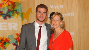 Liam Hemsworth and his mother in 2010