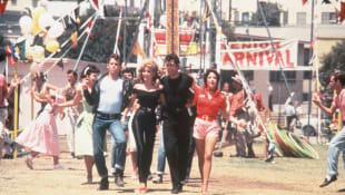 Lorenzo Lamas, Olivia Newton-John, John Travolta and Stockard Channing in Grease.