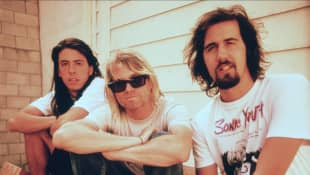 David Grohl, Kurt Cobain & Kris Novoselik Nirvana 15 April 1987