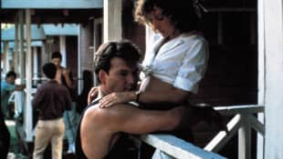 """Patrick Swayze and Jennifer Grey as """"Johnny"""" and """"Baby"""" in Dirty Dancing"""