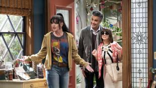 Pauley Perrete, Jaime Camil and Natasha Leggero in the new CBS sitcom Broke.
