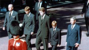 Prince Philip, Prince William, Charles Spencer, Prince Harry and Prince Charles