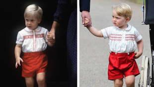 El príncipe William en 1984 y su hijo, el príncipe Jorge en 2015