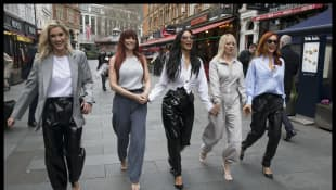 The Pussycat Dolls leaving the Global Radio studios in London.