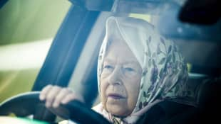 Queen Elizabeth II driving car at 2019 Royal Windsor Horse Show.