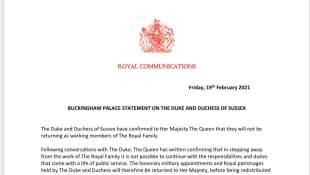 Buckingham Palace Statement
