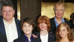 Robbie Coltrane, Daniel Radcliffe, Rupert Grint, Emma Watson y Alan Rickman