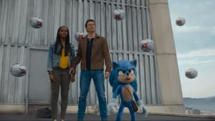 "Tika Sumpter and James Marsden with ""Sonic"" in 'Sonic The Hedgehog' Movie Sets Box Office Record On Opening Weekend"
