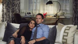"""Meghan Markle """"Rachel"""" and Patrick J. Adams """"Mike"""" in the legal series, 'Suits'."""