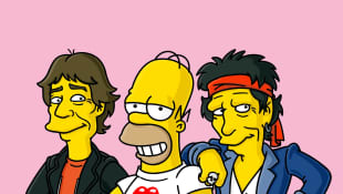 Homer Simpson con Keith Richards y Mick Jagger en Los Simpson.