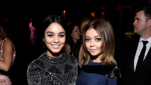 Actresses Vanessa Hudgens (L) and Sarah Hyland attend The 2017 InStyle and Warner Bros. 73rd Annual Golden Globe Awards Post-Party at The Beverly Hilton Hotel on January 8, 2017 in Beverly Hills, California.