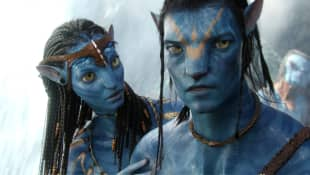 Zoe Saldana y Sam Worthington en 'Avatar'