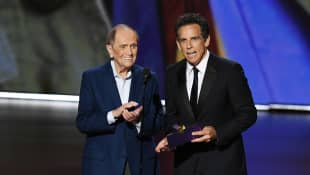 Bob Newhart and Ben Stiller speak onstage during the 71st Emmy Awards at Microsoft Theater on September 22, 2019