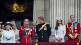 Queen Elizabeth II, Prince Philip, Prince Harry, Duchess Catherine and Prince William
