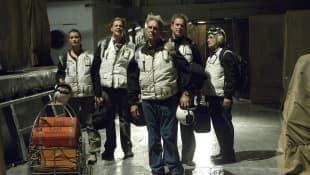 Mark Harmon, Cote de Pablo, Sean Murray, Michael Weatherly y David McCallum en una escena de la serie 'NCIS'