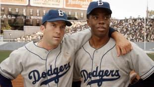 Lucas Black and Chadwick Boseman in '42'
